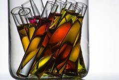 Einige Reagenzgläser im Glasbehälter Stockfoto