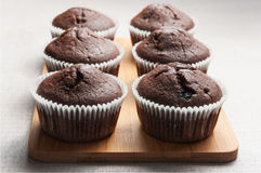Einige Schokoladenmuffins auf dem hölzernen Brett stockbild