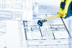 Einige technische Konstruktionszeichnungen Stockbild