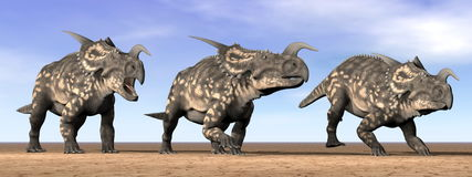 Einiosaurus dinosaurs in the desert - 3D render Royalty Free Stock Photography