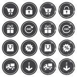 Einkauf auf Retro- Abzeichen des Internets - grunge Art lizenzfreie abbildung