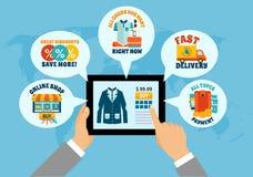 Einkauf auf Tablet-on-line-Zusammensetzung stock abbildung