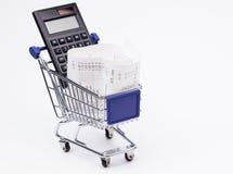 Einkauf bis Empfangstaschenrechner und -Warenkorb Stockbild