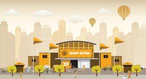 Einkauf in der Stadt (Retro- Farben) Lizenzfreie Stockbilder