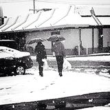 Einkauf an einem schneebedeckten Tag Stockbilder
