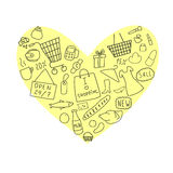 Einkauf im Herzen Lizenzfreie Stockbilder