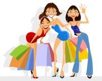 Einkauf mit drei Mädchen Stockbild