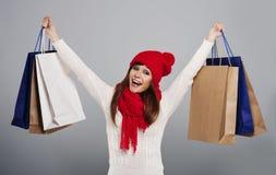 Einkauf während des Winters Lizenzfreies Stockbild