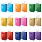 Einkaufen-Beutel-in-unterschiedlich-Farben Stockbilder