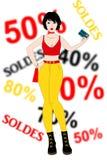 Einkaufen der jungen Frau mit Kreditkarte stockfotografie