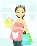 Einkaufen der schwangeren Frau Lizenzfreie Stockbilder