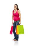 Einkaufen der schwangeren Frau lokalisiert auf Weiß Stockbild