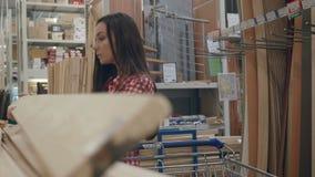 Einkaufen des jungen Mädchens im Baumarkt stock video footage