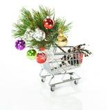 Einkaufen-Karikatur mit Weihnachtsbaum Lizenzfreies Stockfoto