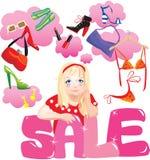 Einkaufen-Mädchen, das Entscheidung was bildet zu kaufen Stockbild