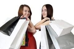 Einkaufen mit zwei Mädchen Lizenzfreies Stockbild