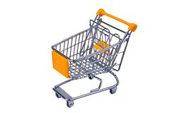 Einkaufen-streel Laufkatze mit gelbem Kennzeichen für Supermarkt stockbilder