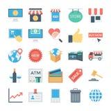 Einkaufen und elektronischer Geschäftsverkehr farbige Vektor-Ikonen 5 Lizenzfreies Stockbild