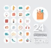 Einkaufen und Kleinikonen auf Grau Stockfotografie