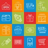 Einkaufen- und Verbraucherschutzbewegung lineart minimales Vektor iconset auf karierter Mehrfarbenbeschaffenheit stock abbildung