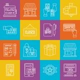 Einkaufen- und Verbraucherschutzbewegung lineart minimales Vektor iconset auf karierter Mehrfarbenbeschaffenheit vektor abbildung