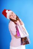 Einkaufen-Weihnachtsfrauenlächeln. lizenzfreie stockbilder