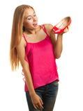 Einkaufenfrau liebt Schuhe Stockfoto