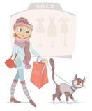 Einkaufenfrau mit Beutel und lächelnde Katze auf Verkauf Stockfoto