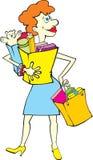 Einkaufenfrau mit Beuteln stock abbildung