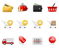 Einkaufenikonen lizenzfreie abbildung