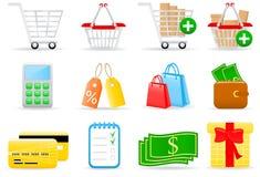 Einkaufenikonen Lizenzfreies Stockbild
