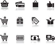 Einkaufenikonen eingestellt Lizenzfreie Stockfotos