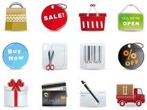 Einkaufenikonenset Lizenzfreie Stockbilder
