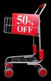 Einkaufenlaufkatze mit 50 Prozent weg vom Zeichen Stockfoto