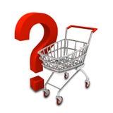 Einkaufenlaufkatze und Fragenzeichen Stockbilder