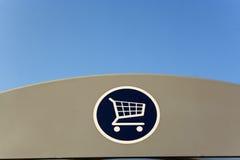 Einkaufenlaufkatzezeichen stockbild