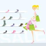 Einkaufenmädchen stock abbildung