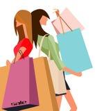 Einkaufenmädchen lizenzfreie abbildung