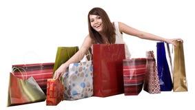 Einkaufenmädchen mit Gruppenbeutel. Lizenzfreie Stockbilder