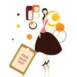 Einkaufenmeldung mit Frauen Lizenzfreie Stockbilder