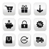 Einkaufentasten für Web site/speichern online vektor abbildung