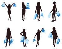 Einkaufenvektorfrau Lizenzfreies Stockfoto