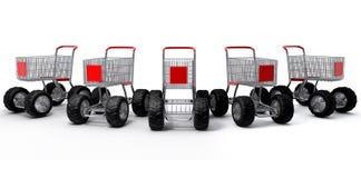 Einkaufenwagengruppe Stockfoto
