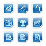 Einkaufenweb-Ikonen, blaue Aufkleberserie Stockfotos