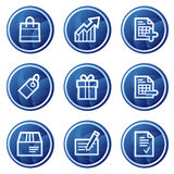 Einkaufenweb-Ikonen, blauer Kreis knöpft Serie Stockbilder