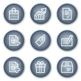 Einkaufenweb-Ikonen, Mineralkreis knöpft Serie Stockfotos
