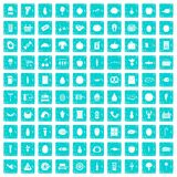 100 Einkaufikonen stellten Schmutz blau ein Lizenzfreie Stockbilder