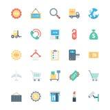 Einkaufs-, des elektronischen Geschäftsverkehrs, des Einzelhandels und des Versandsvektor-Ikonen 2 Lizenzfreie Stockbilder