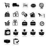 Einkaufs- und des E-Commerceschwarzer u. weißer Ikonensatz lizenzfreie abbildung