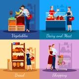Einkaufsabteilungen im Supermarkt vektor abbildung
